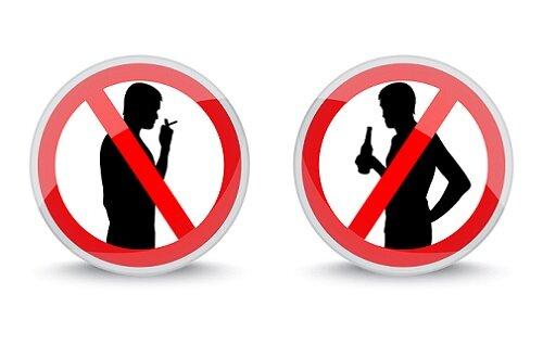 отказ через алкоголя равно курения